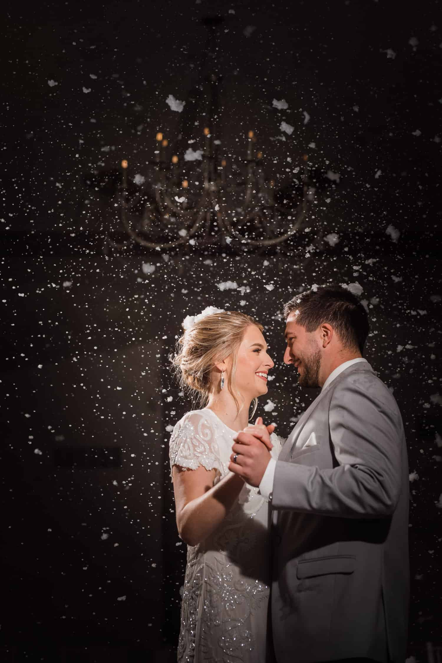 Snow during the first dance at Countryside Chalet