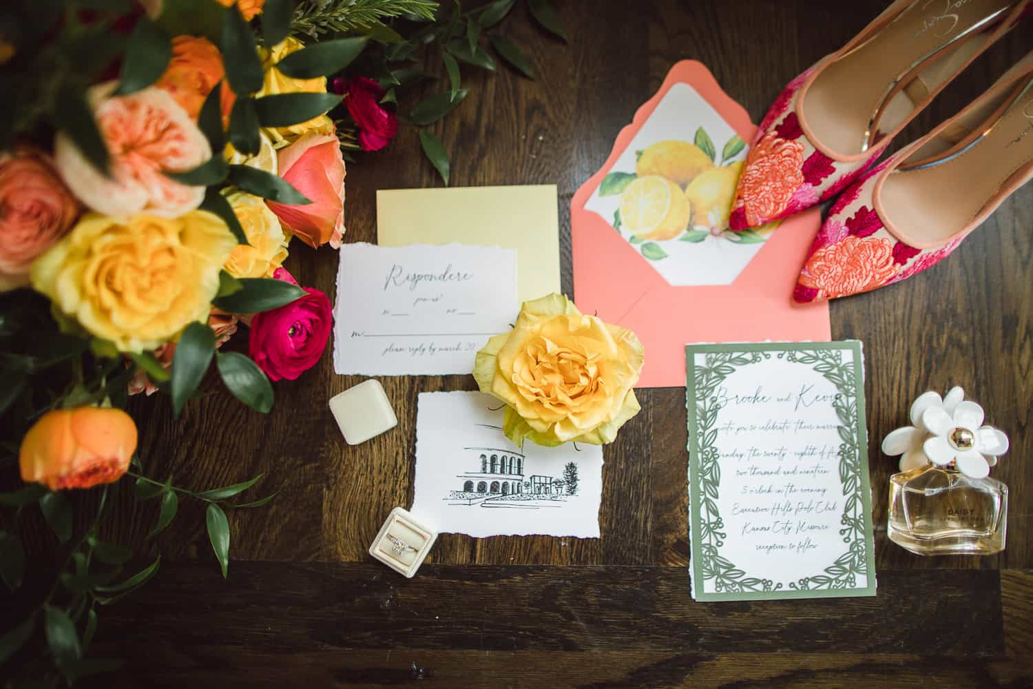 Yellow and coral Kansas City wedding