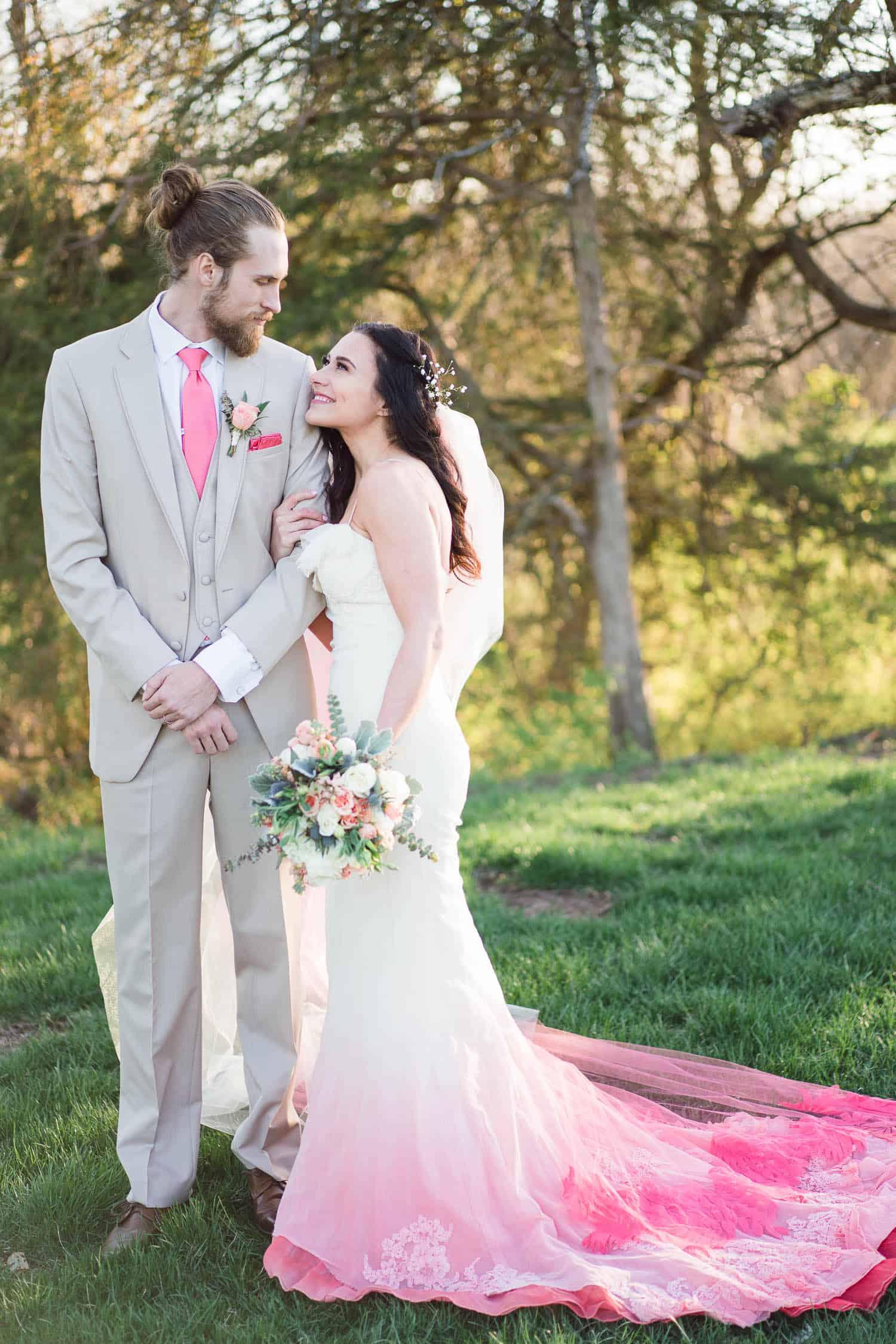 Coral wedding inspiration in Spring Hill Kansas
