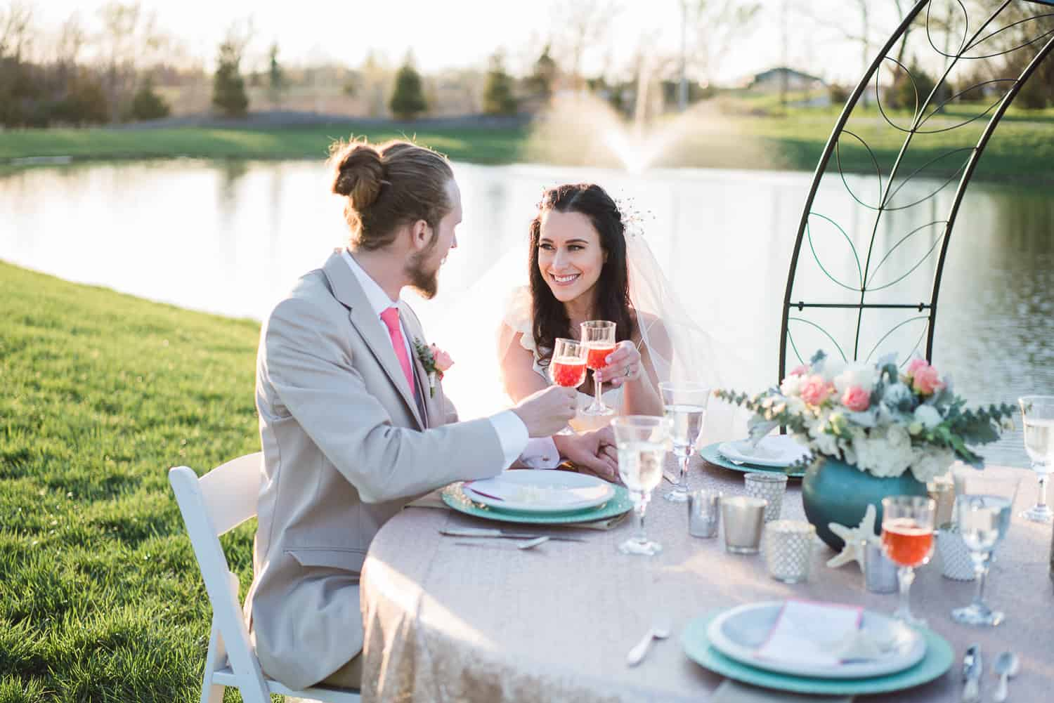 Wedding ceremony dining on the lake at the Bowery