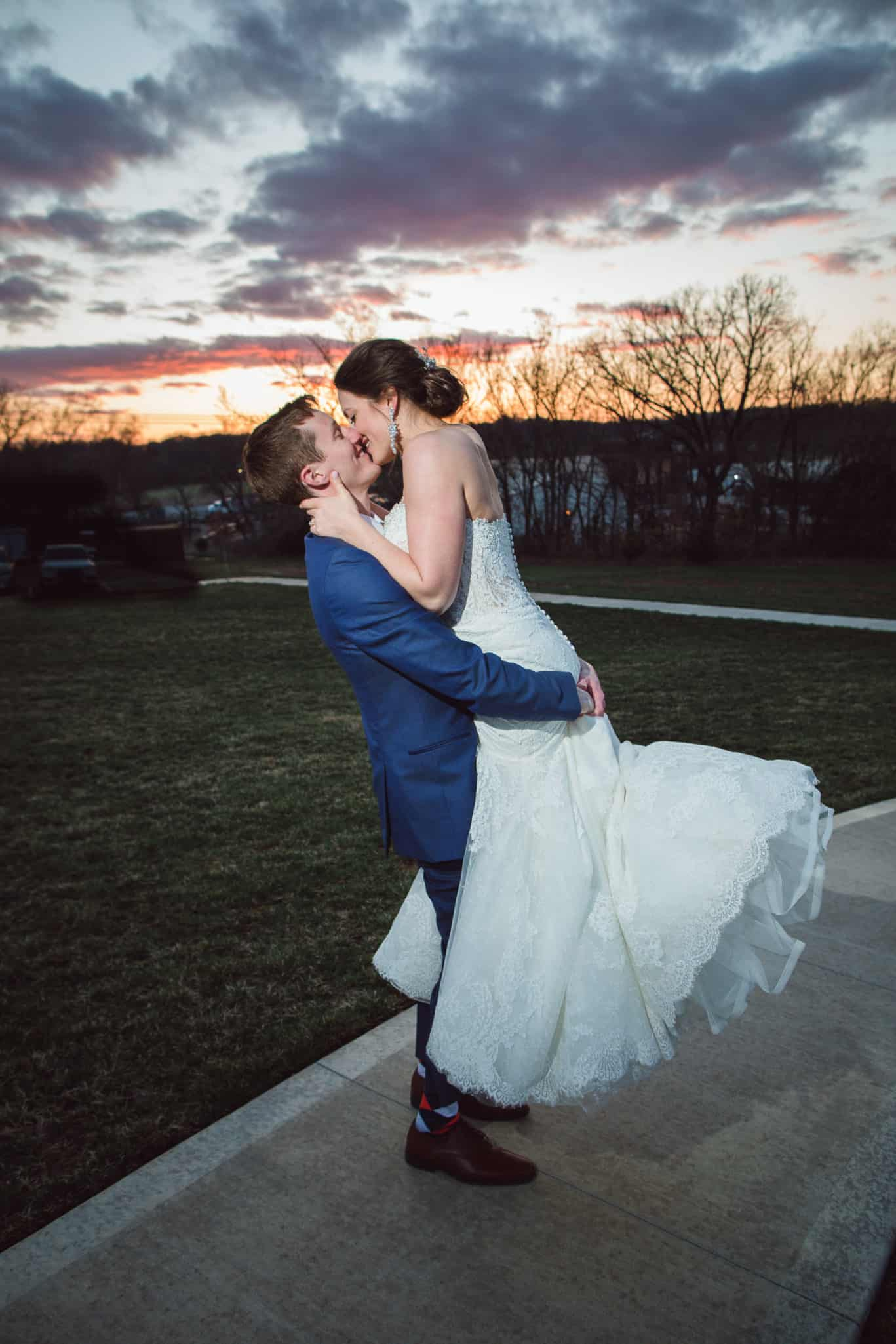 Sunset pictures during Wedding reception at the Farms at Woodend Springs in Bonner Springs Kansas