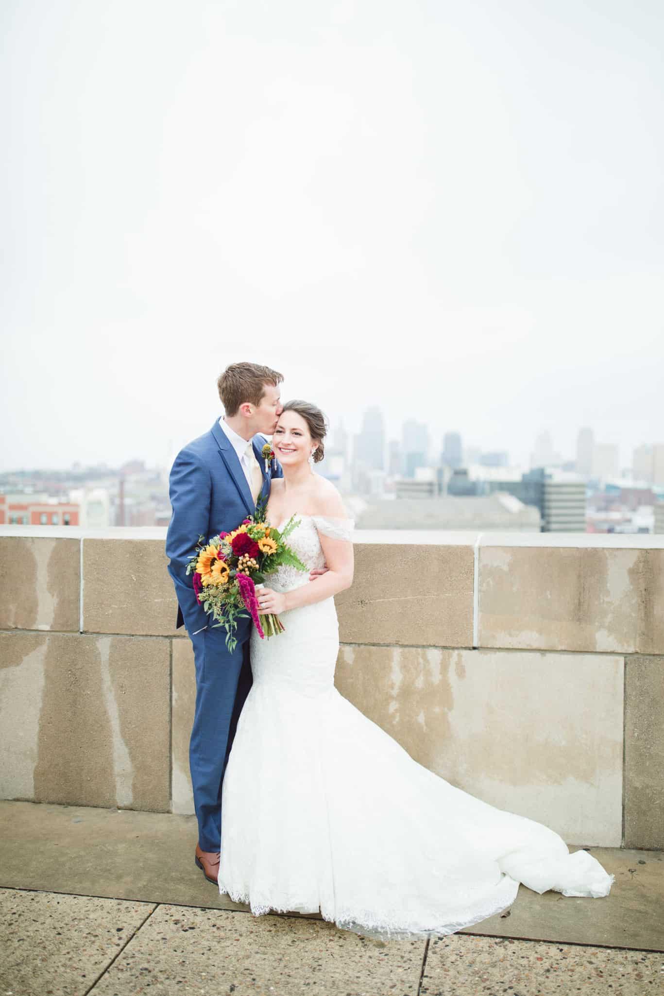 Kansas City wedding photographer wedding portraits at Liberty Memorial in Kansas City