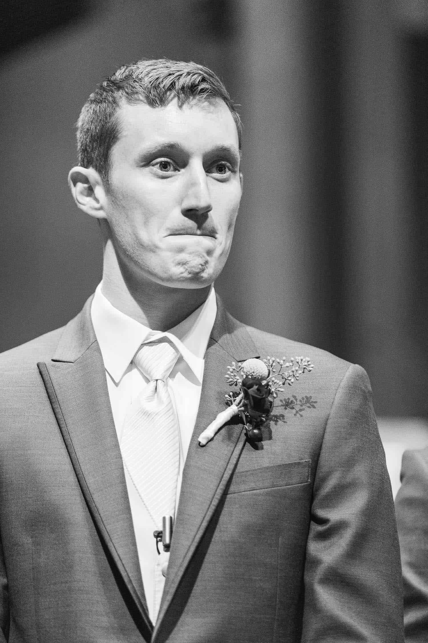 Emotional groom in Wedding ceremony at Southminster Presbyterian Church in Kansas City