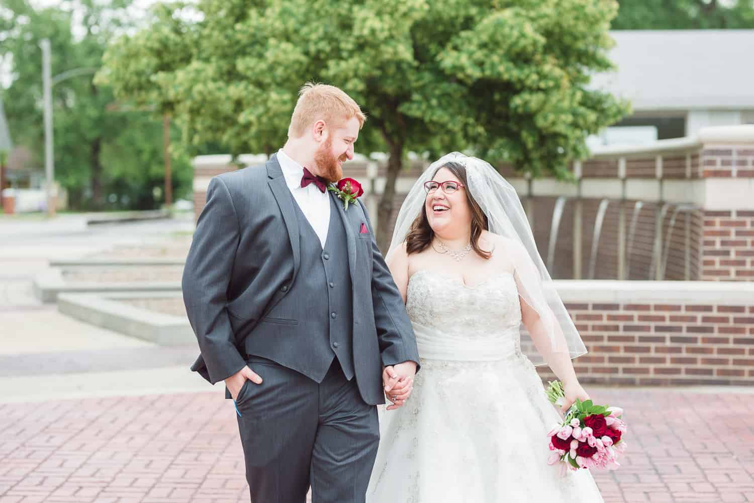 Downtown Grandview Missouri wedding portraits
