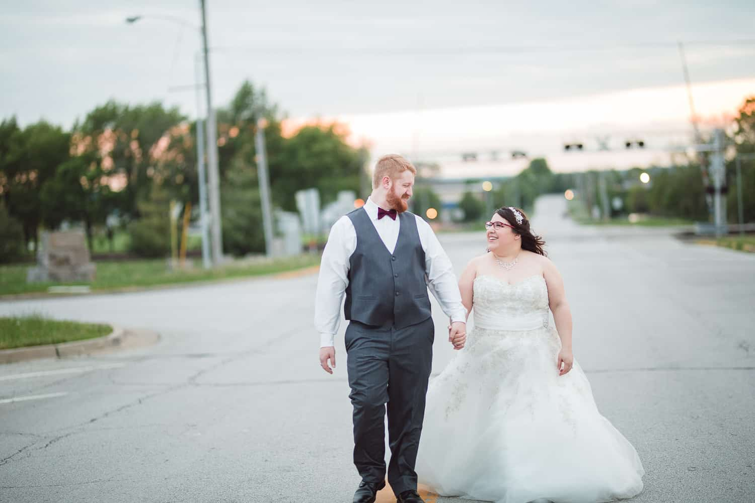 Sunset wedding pictures in downtown grandview missouri