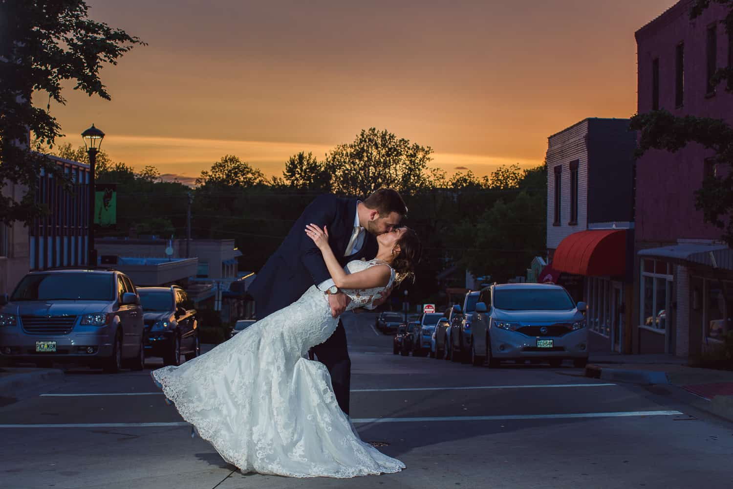 Sunset wedding portraits in downtown Liberty Missouri