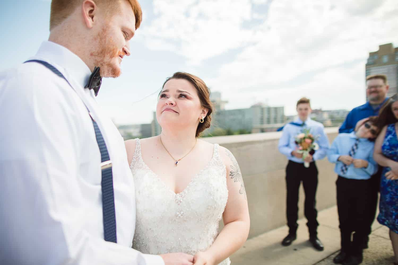 Kansas City skyline wedding ceremony