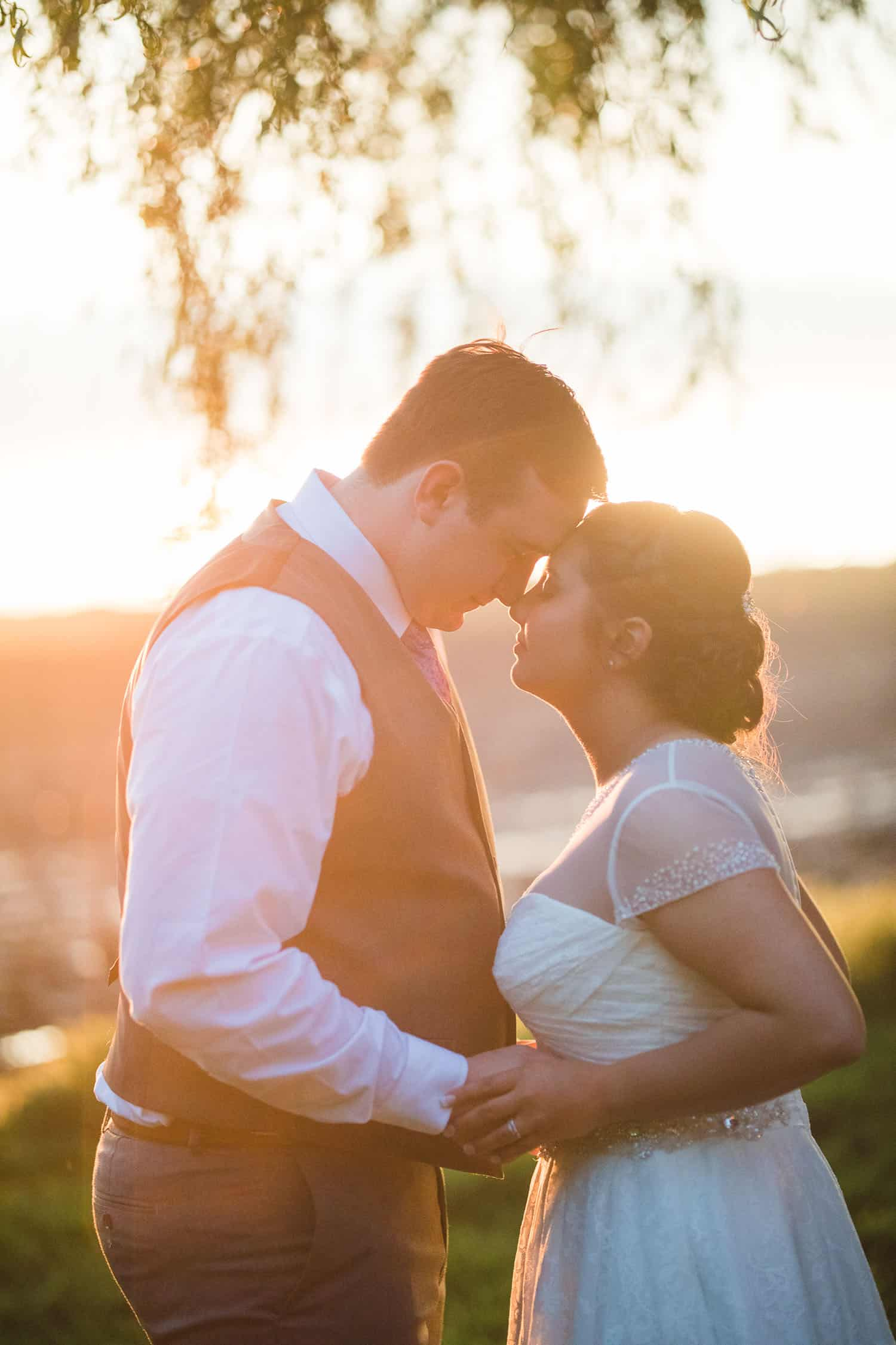 Sunset wedding portraits at the Brownstone in Topeka Kansas