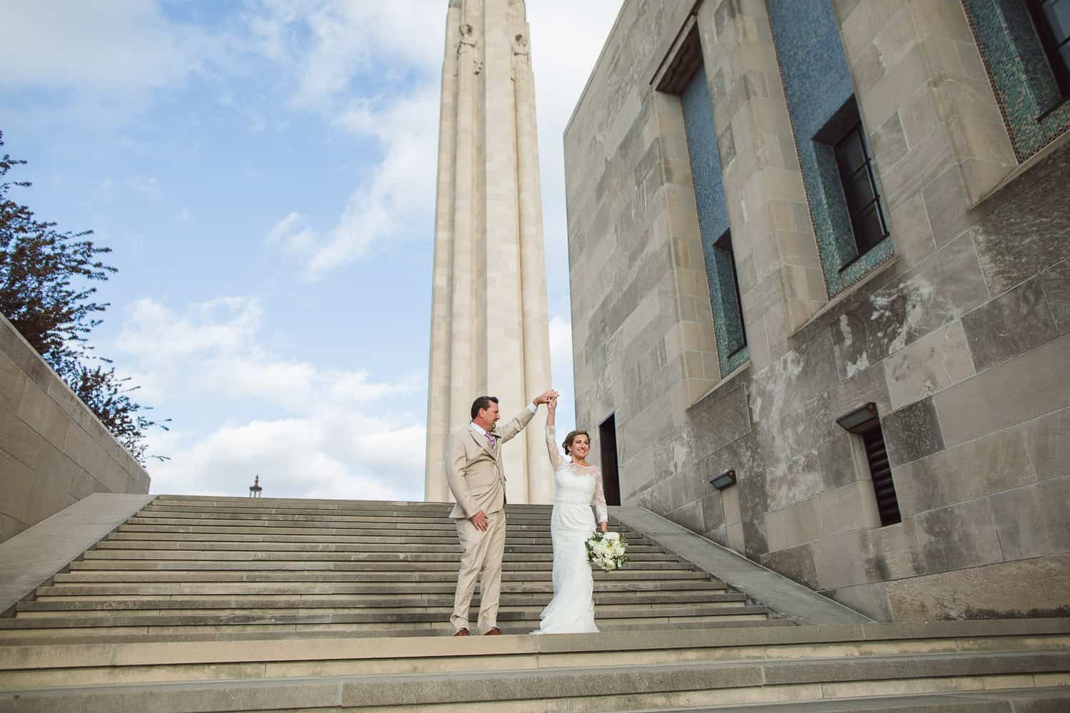 Wedding portraits at Liberty Memorial in Kansas City