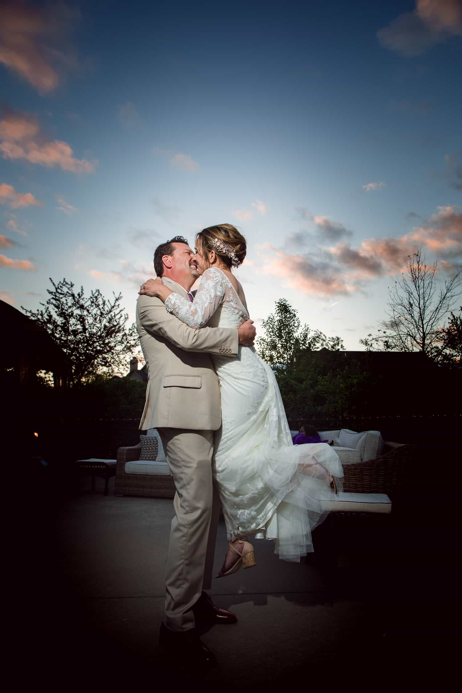 An intimate backyard wedding reception in Kansas City
