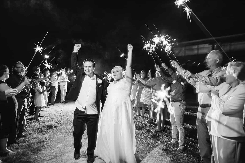 Sparkler wedding exit in Olathe