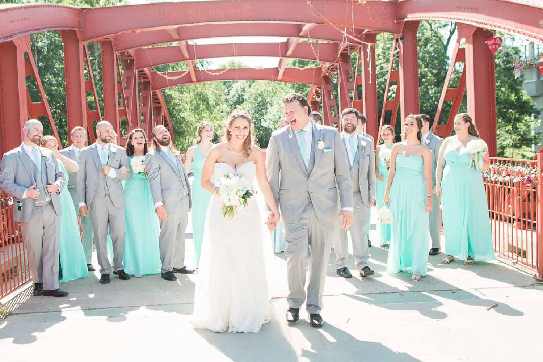 Wedding portraits at Love Locks Bridge in Red Bridge