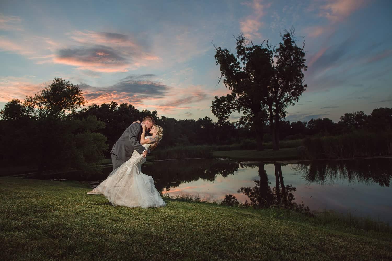 Sunset wedding portraits in Manhattan Kansas
