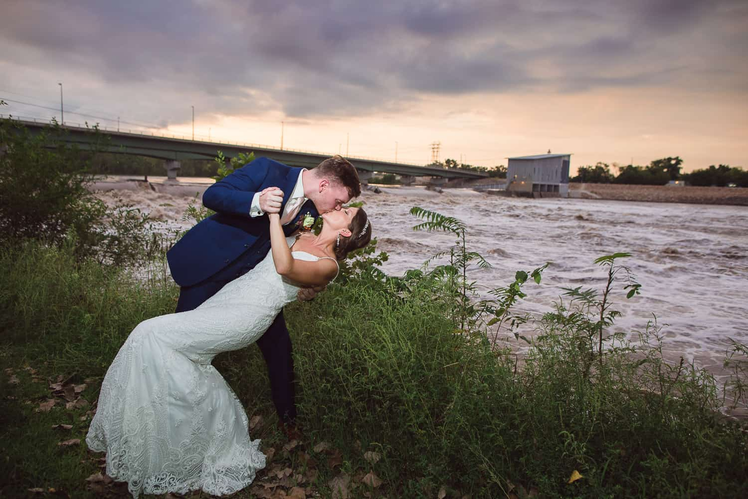 Sunset wedding pictures in Lawrence Kansas