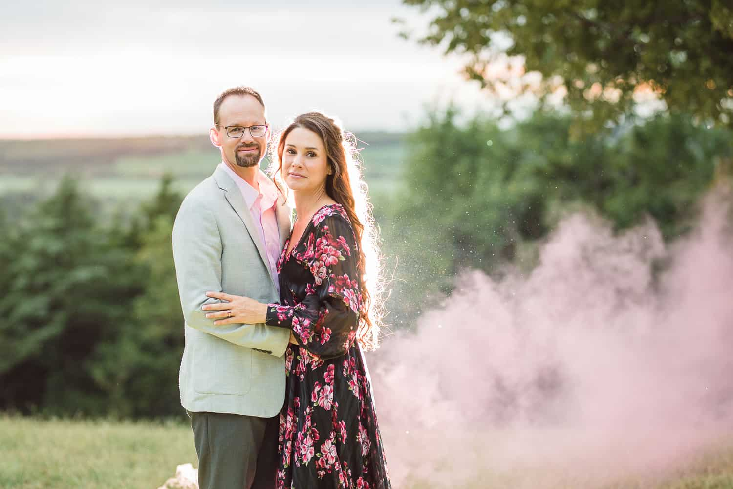 Smoke bomb engagement session in Lawrence