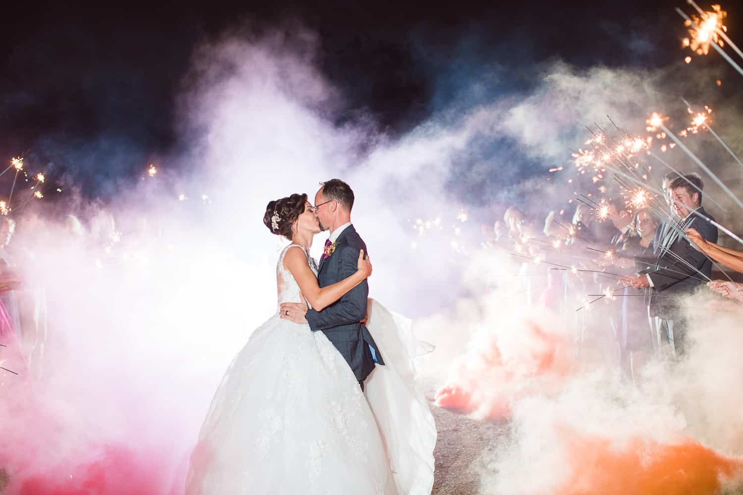 Smoke bomb wedding exit
