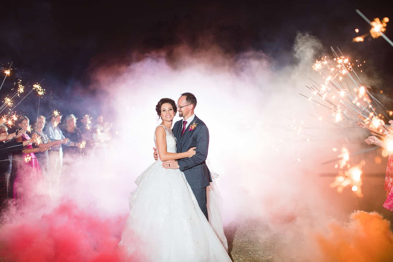 Smoke bomb wedding exit