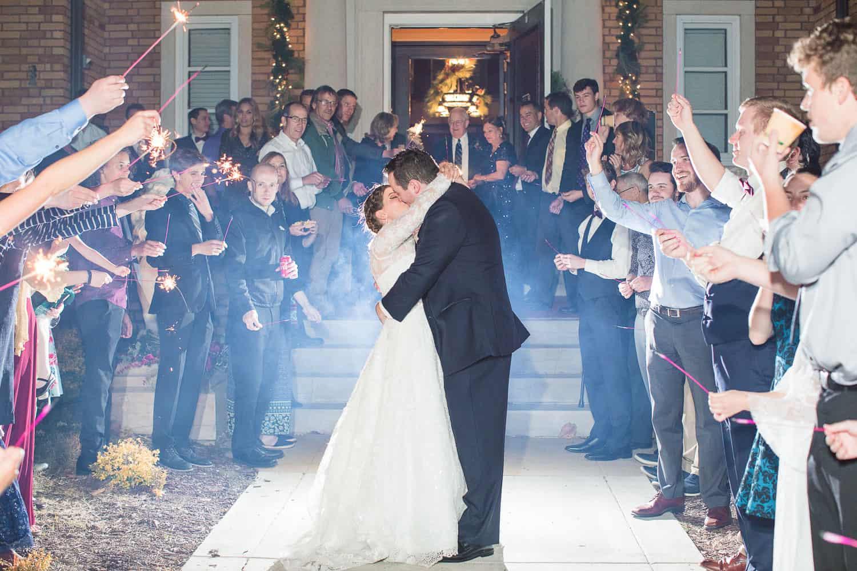 Sparkler wedding exit in Topeka