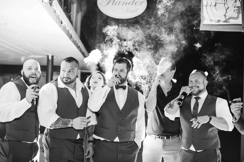 Night time wedding photos at Flander Hall