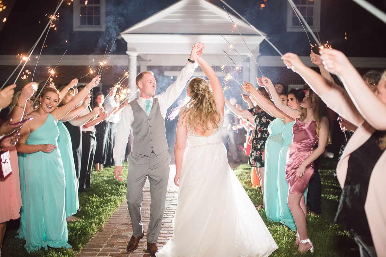 Mildale Farm wedding sparkler exit