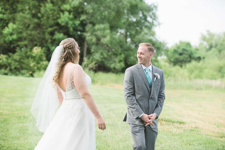 First Look Mildale Farm wedding Gardner Kansas