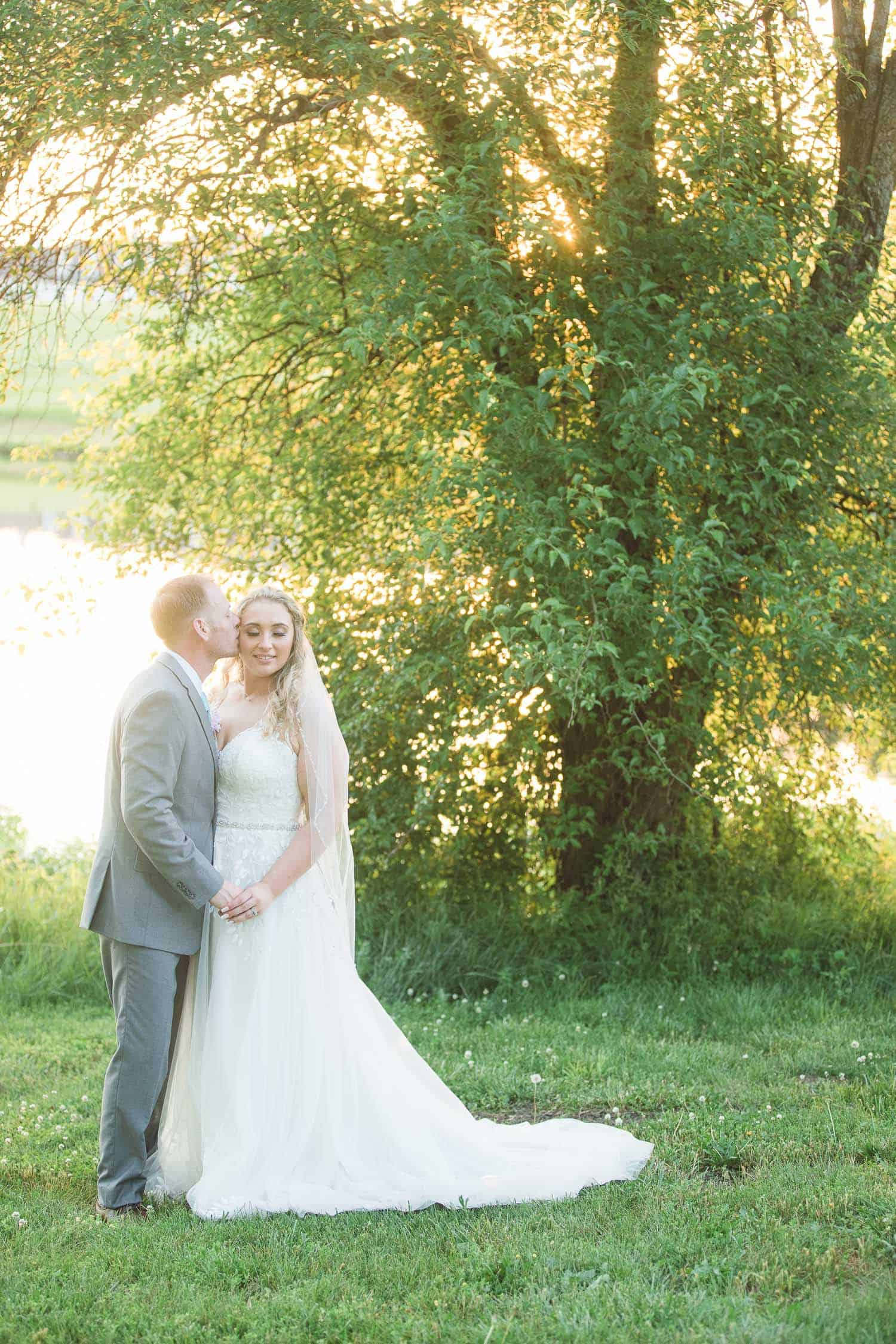 Wedding sunset photos at Mildale Farm overlooking the lake