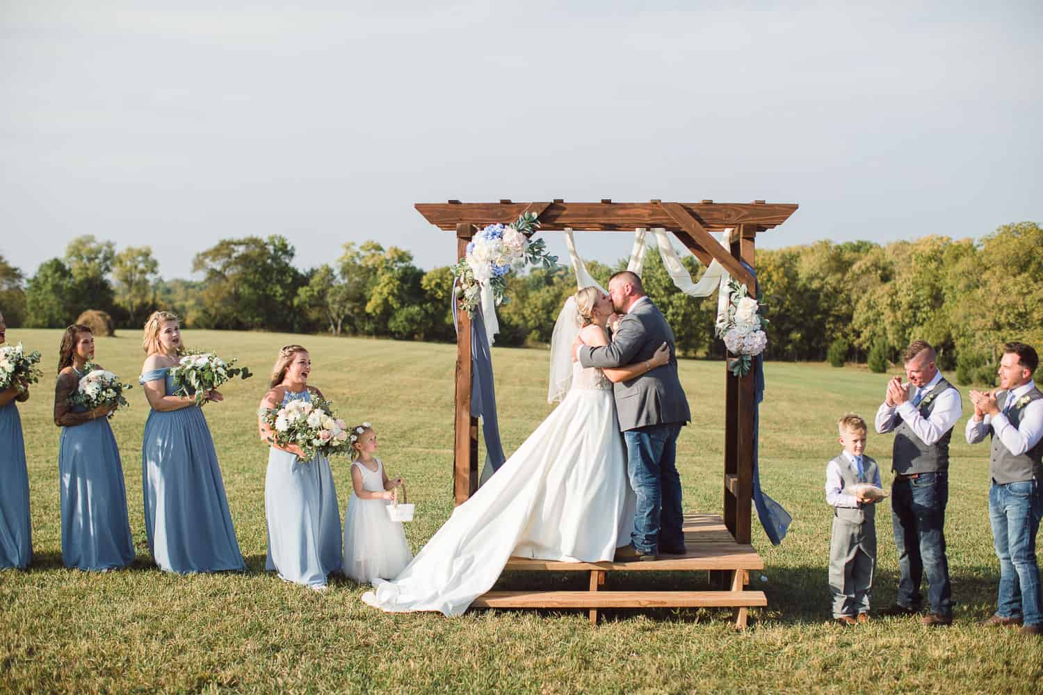 Outdoor wedding ceremony at private property in Kansas