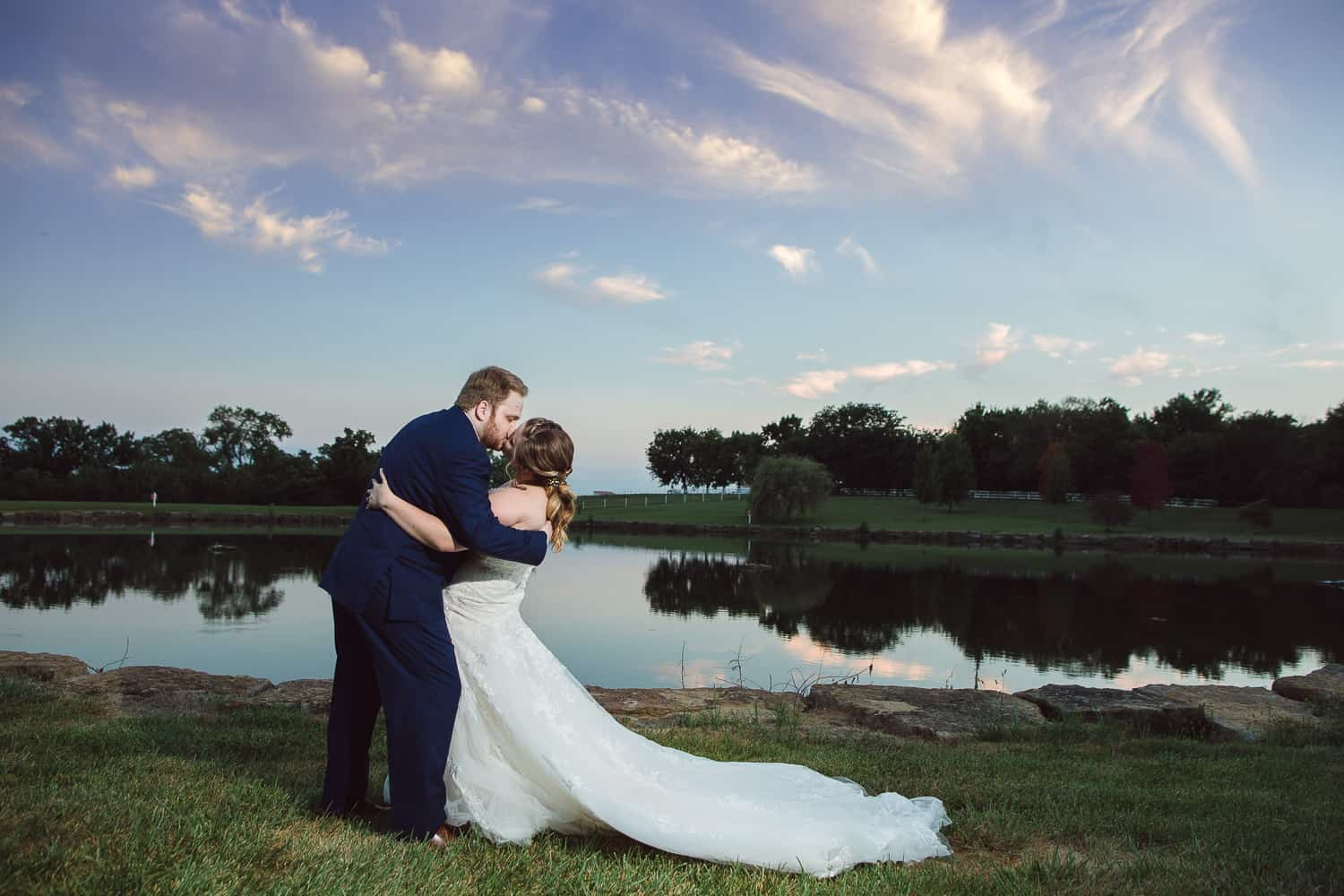 Sunset photos at the Fire Stables Lenexa wedding venue