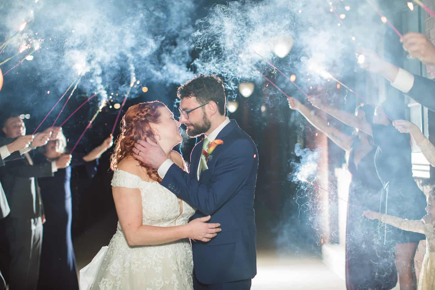 sparkler exit at Faultless Event Space wedding in Kansas City west bottoms