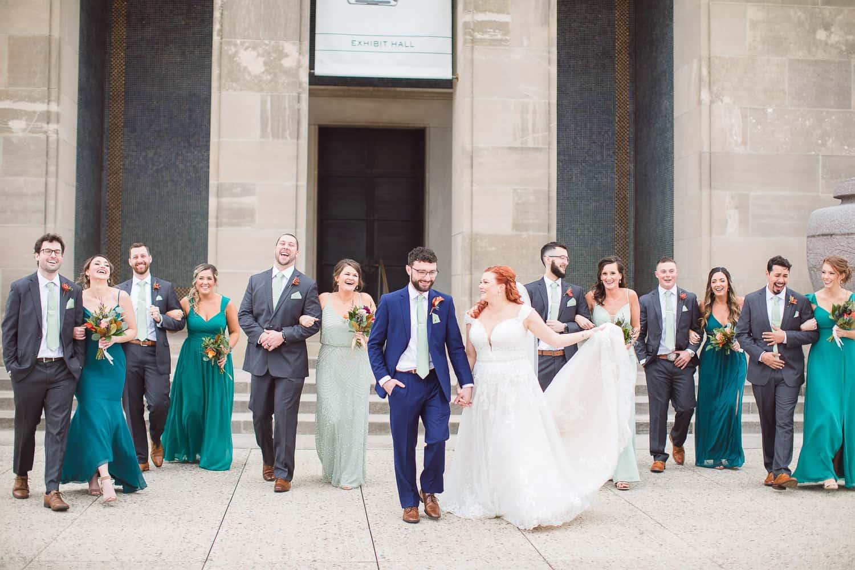 Liberty Memorial wedding party photos in Kansas City