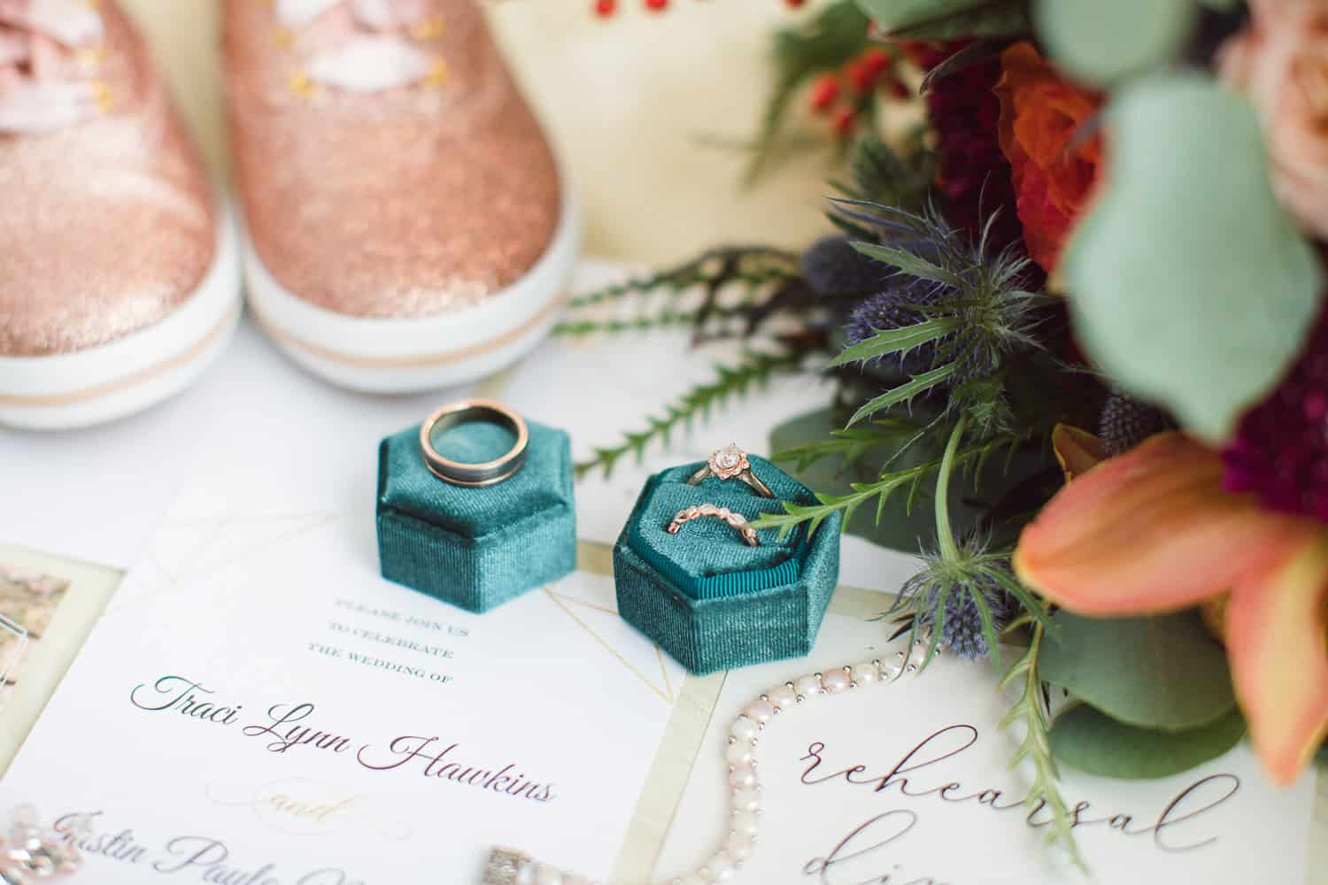 Faultless Event Space wedding teal and rose gold details