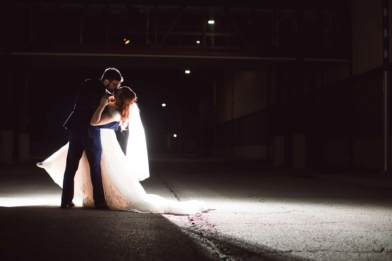 night wedding photos at Faultless Event Space wedding in Kansas City west bottoms