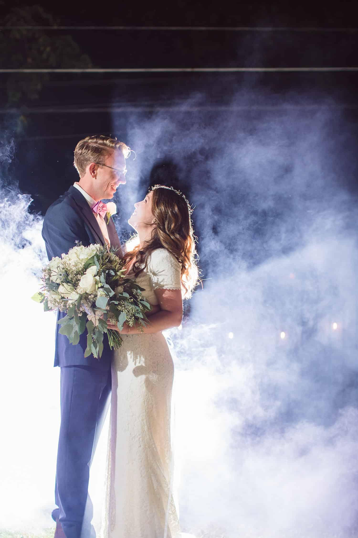 Smoke bomb wedding portraits