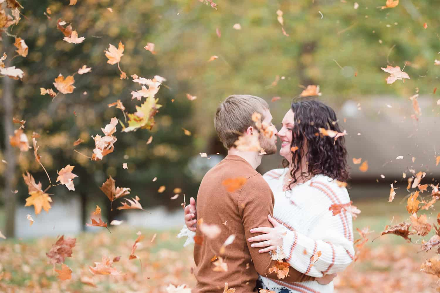 fall engagement pictures at Weston Bend State Park