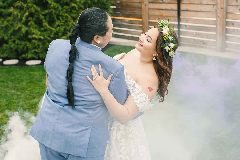 lgbt wedding with smoke bombs