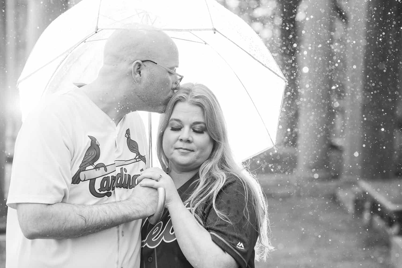Rainy Kansas City engagement photos