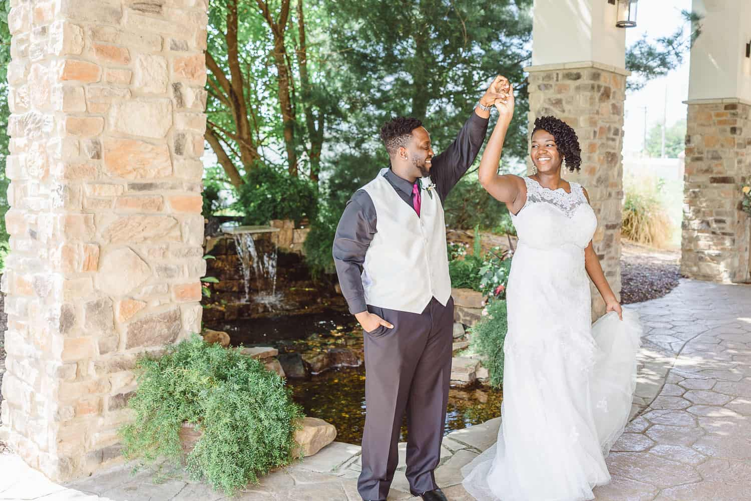 The Rhapsody wedding venue in Independence bride and groom portraits