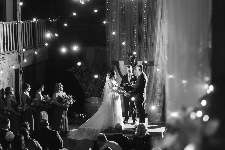 Backwoods Venue 222 indoor wedding ceremony