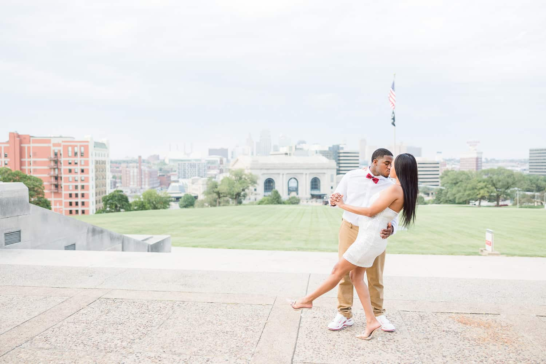 Liberty memorial engagement photos in Kansas City
