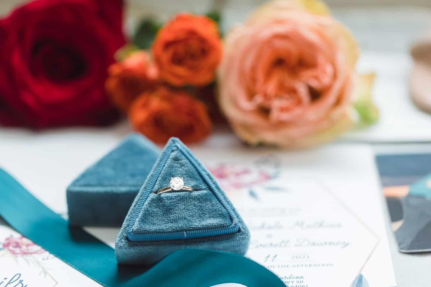 Powell Gardens wedding details with bright colored florals and teal ring box